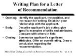writing plan for a letter of recommendation