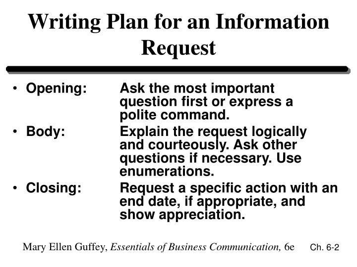 Writing plan for an information request