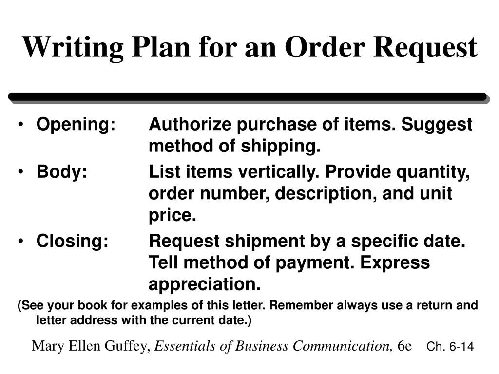 Writing Plan for an Order Request