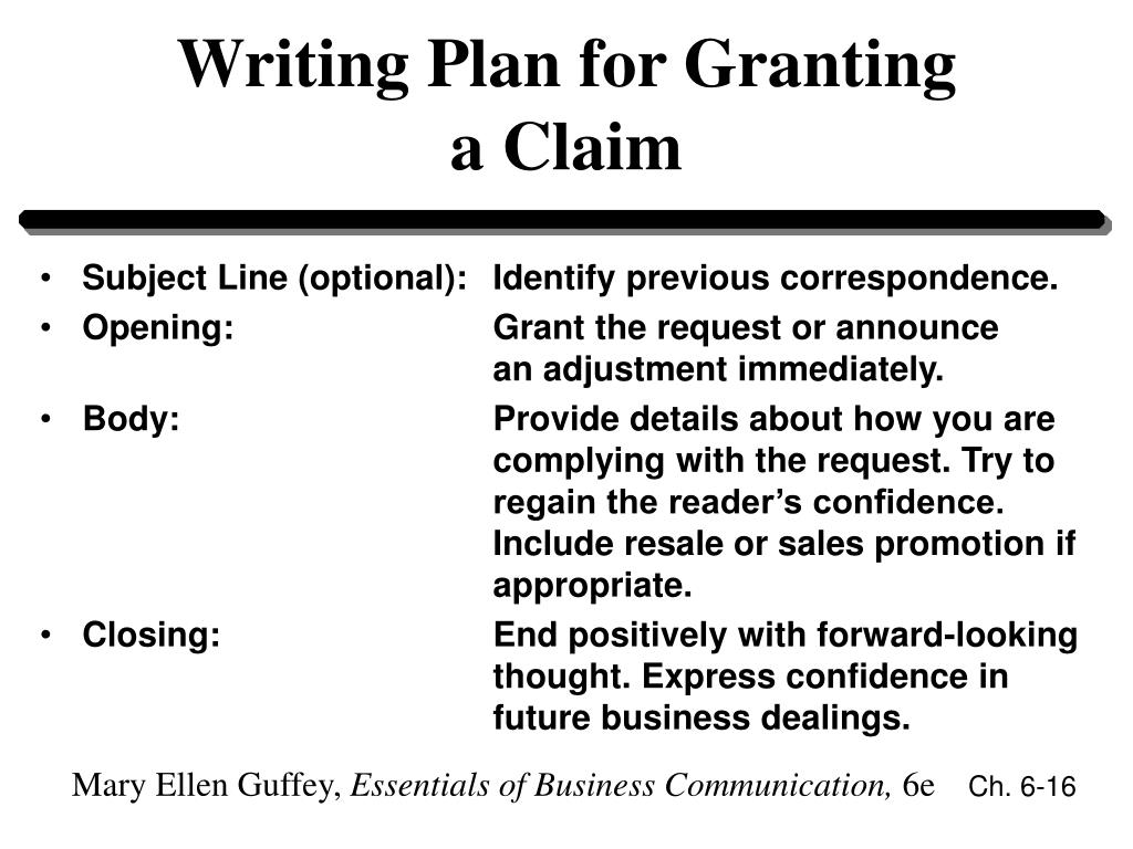 Writing Plan for Granting