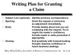 writing plan for granting a claim