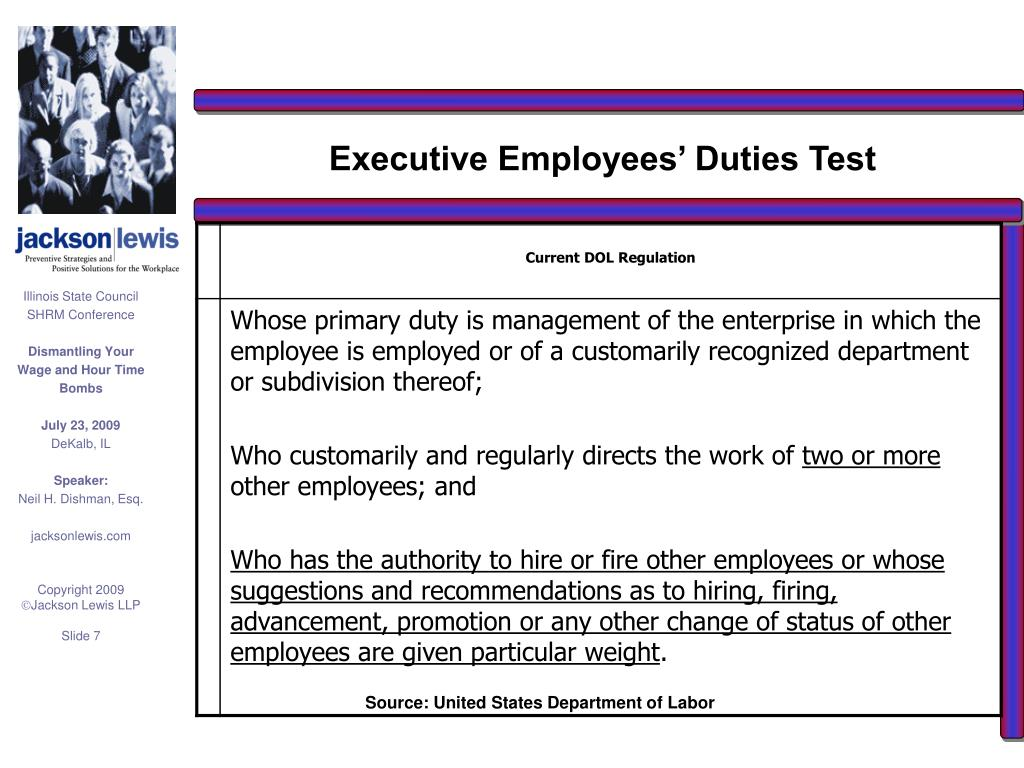 Executive Employees' Duties Test