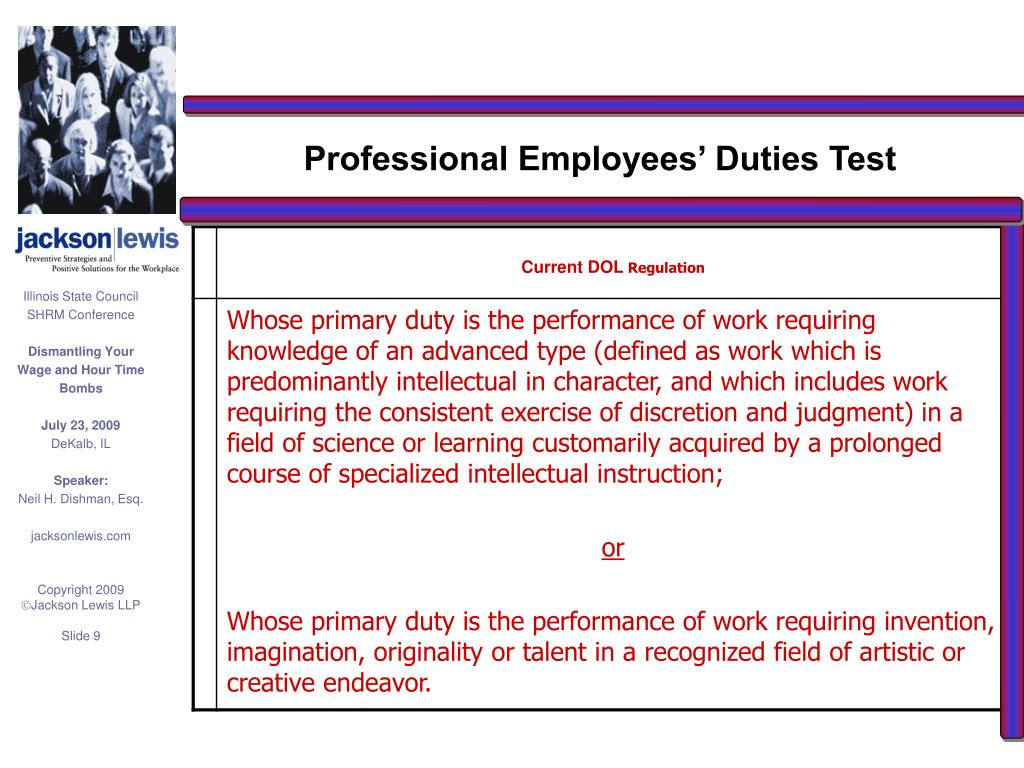 Professional Employees' Duties Test