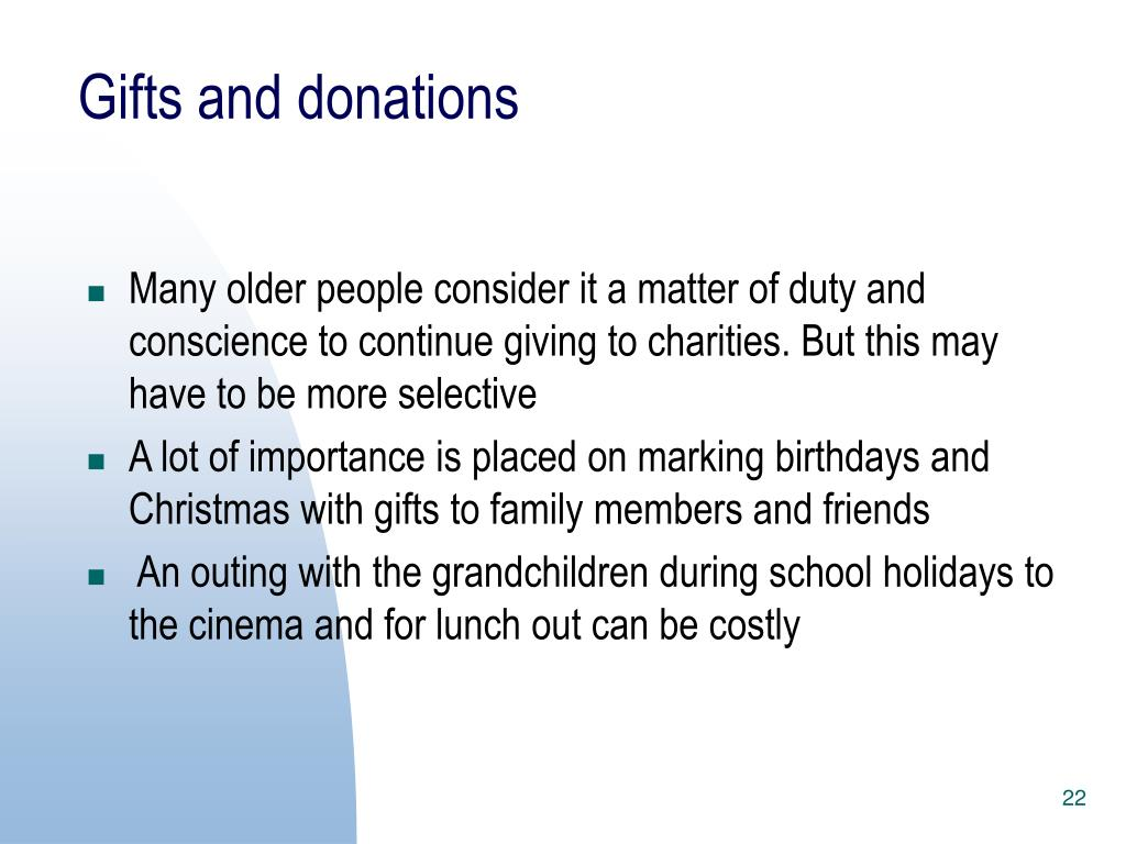 Gifts and donations