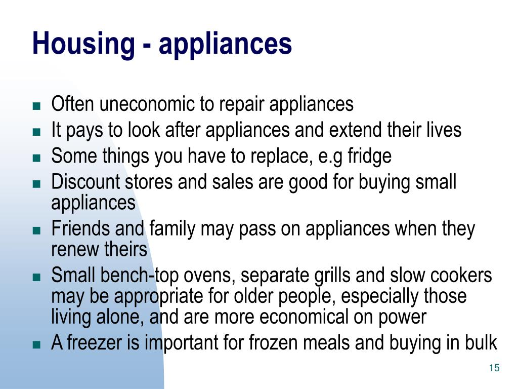 Housing - appliances