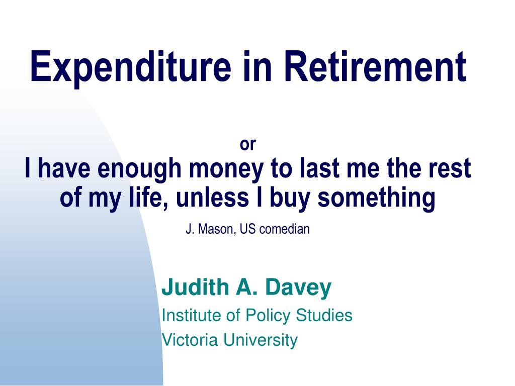 Expenditure in Retirement