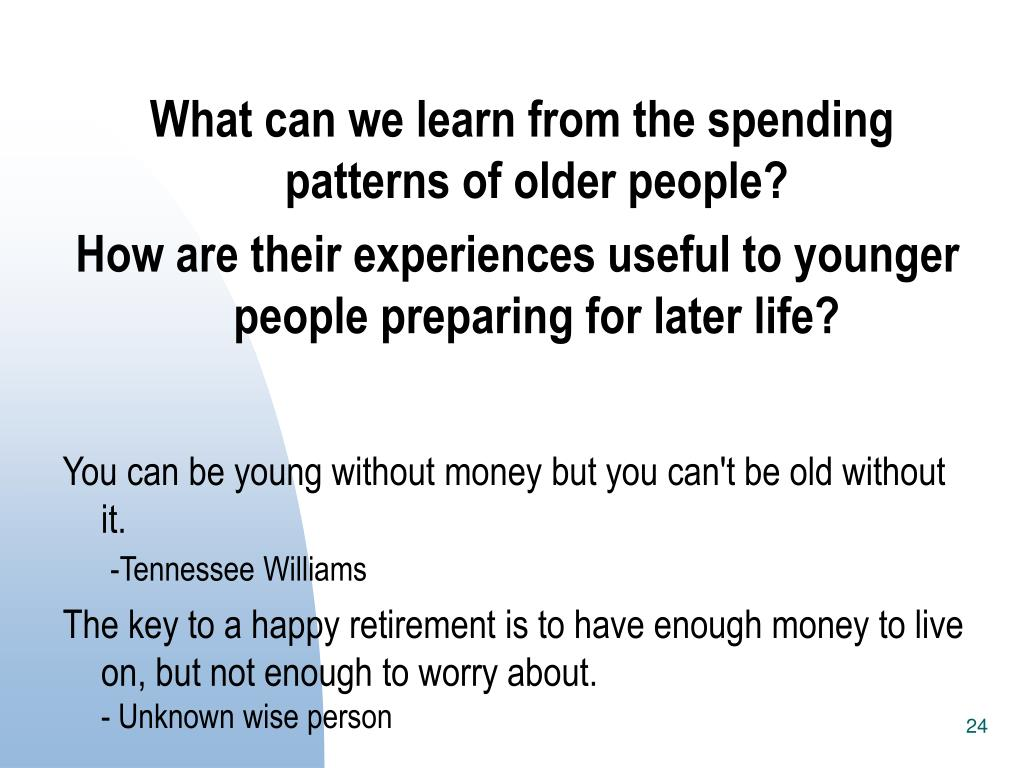 What can we learn from the spending patterns of older people?