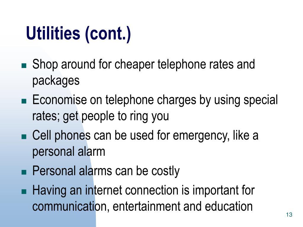 Utilities (cont.)