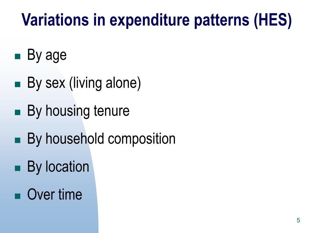 Variations in expenditure patterns (HES)