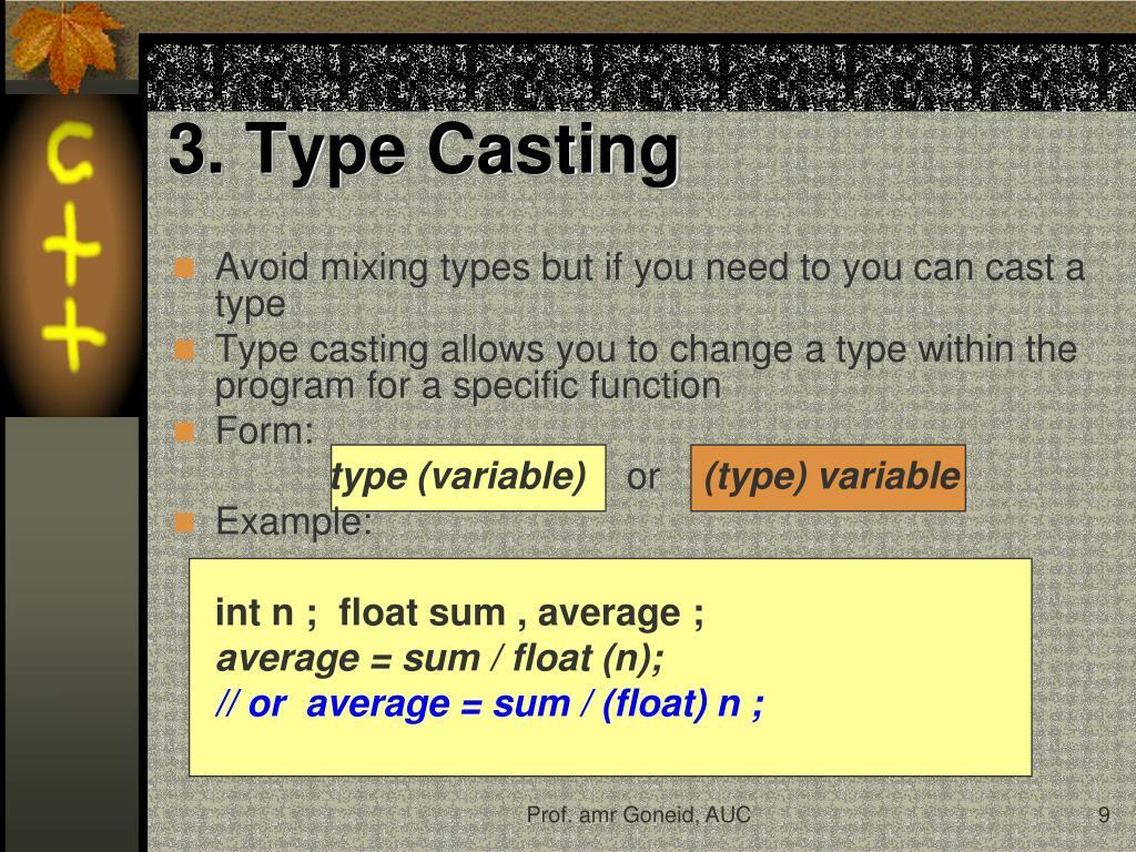 type casting in c++ pdf