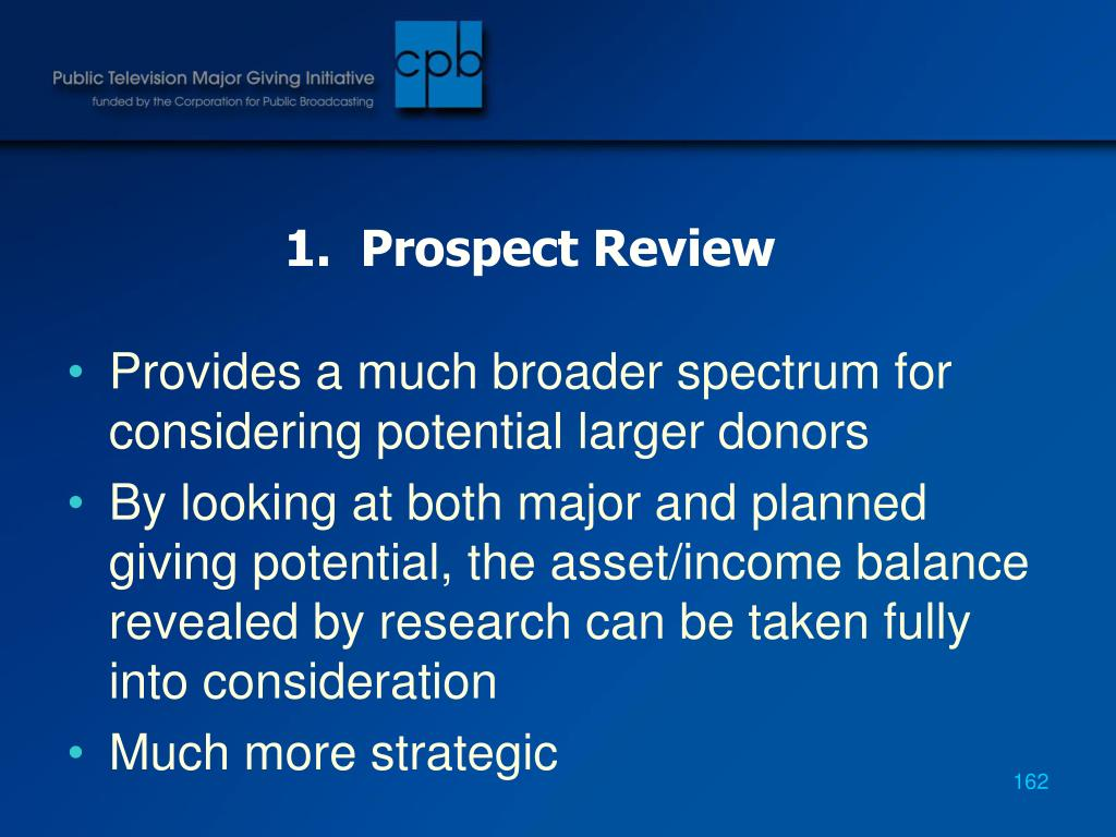 1.  Prospect Review