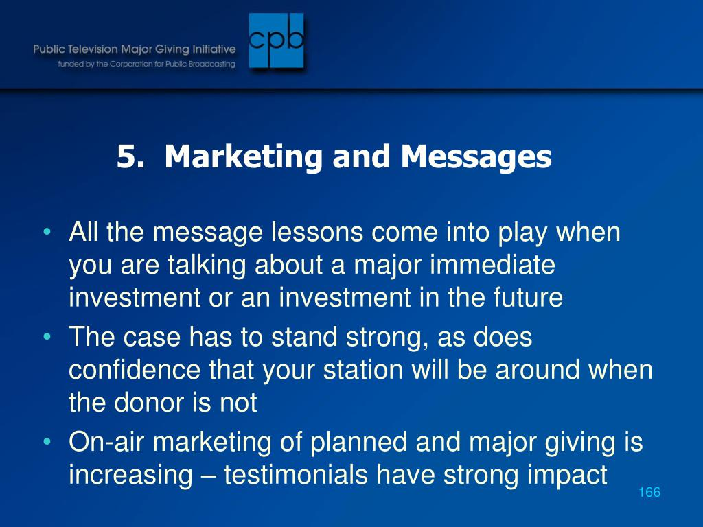 5.  Marketing and Messages