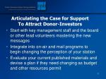 articulating the case for support to attract donor investors