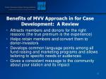benefits of mvv approach in for case development a review