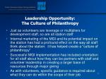 leadership opportunity the culture of philanthropy