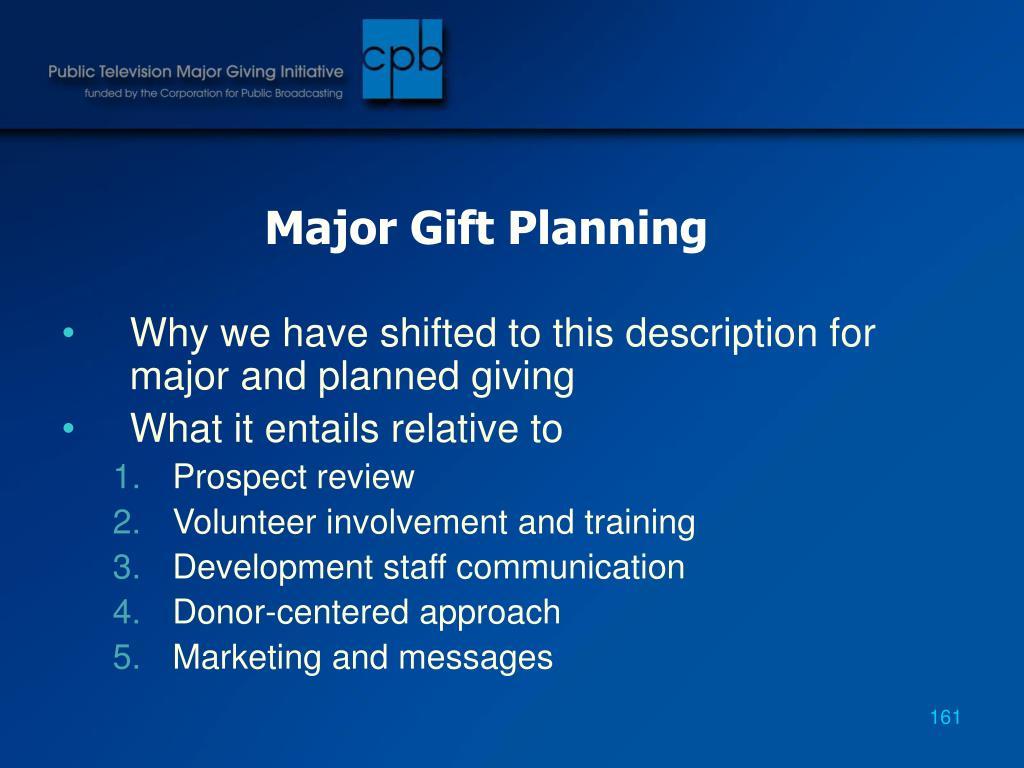 Major Gift Planning