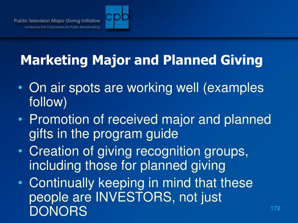 Marketing Major and Planned Giving