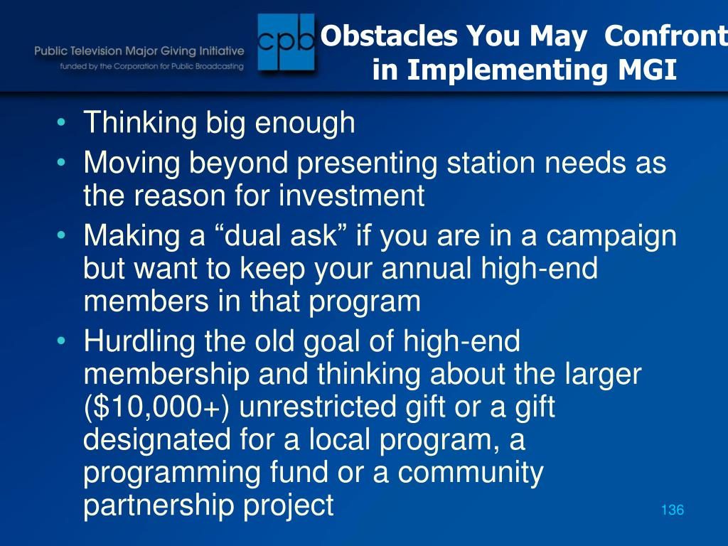 Obstacles You May  Confront in Implementing MGI