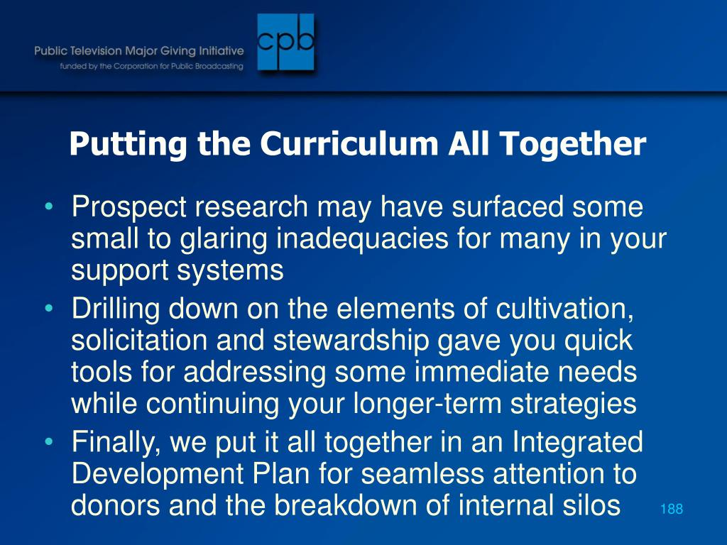 Putting the Curriculum All Together