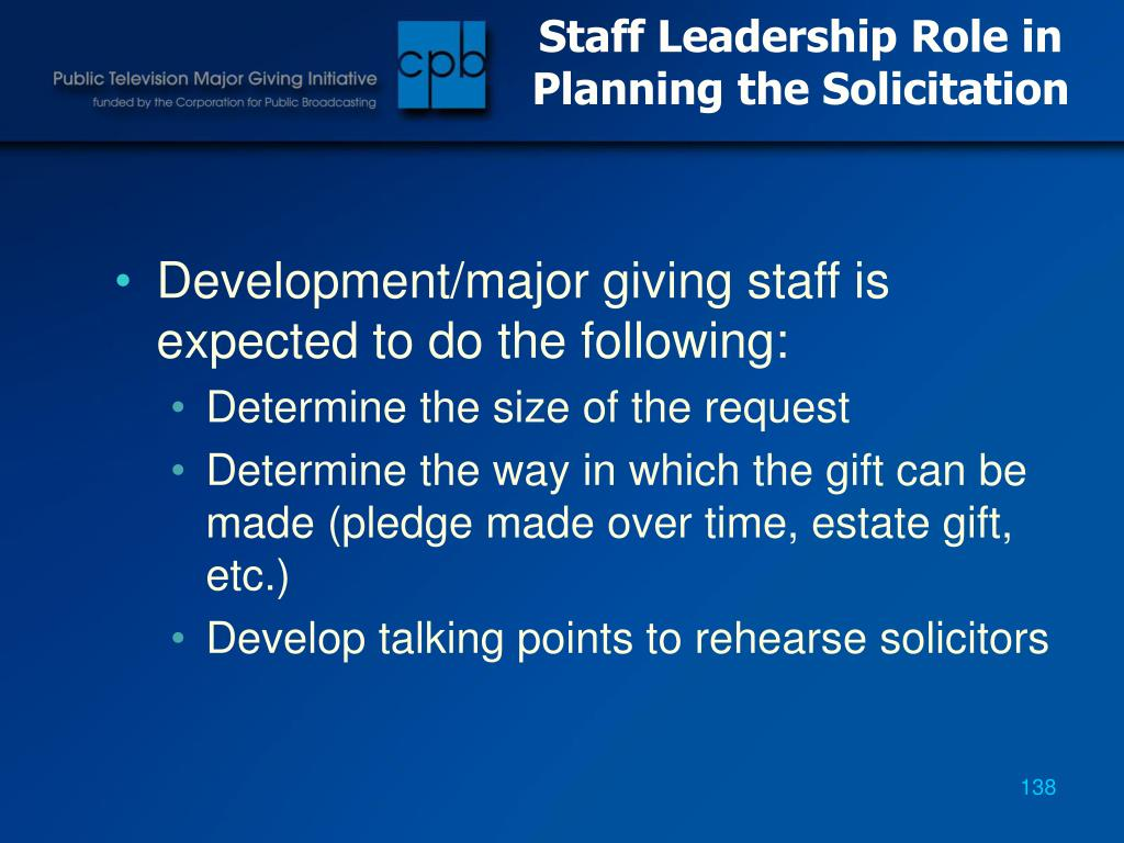 Staff Leadership Role in Planning the Solicitation