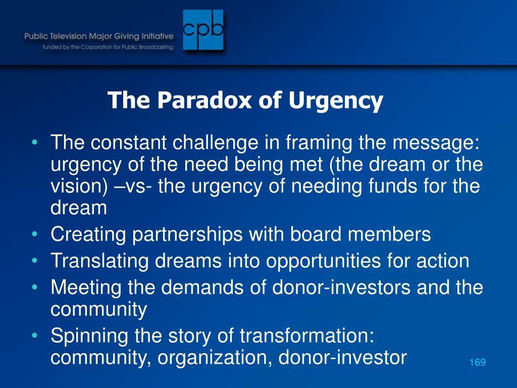 The Paradox of Urgency