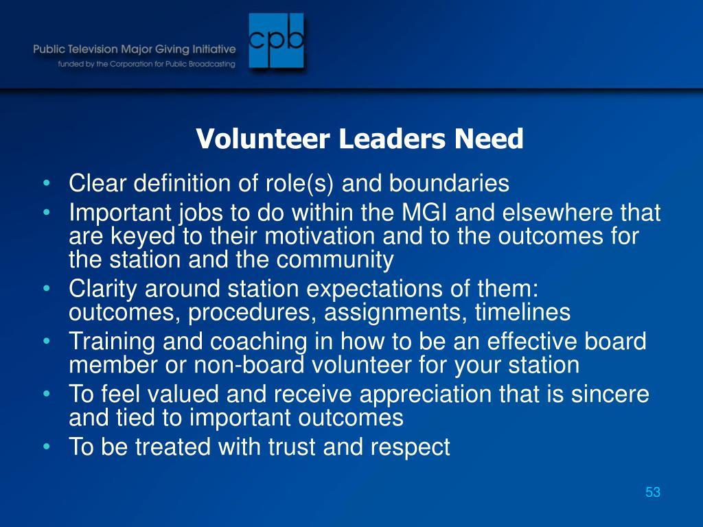 Volunteer Leaders Need