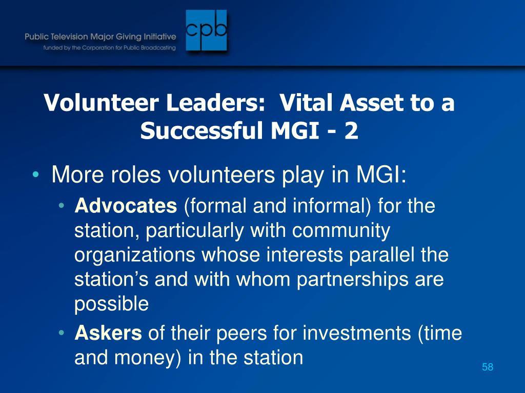 Volunteer Leaders:  Vital Asset to a Successful MGI - 2