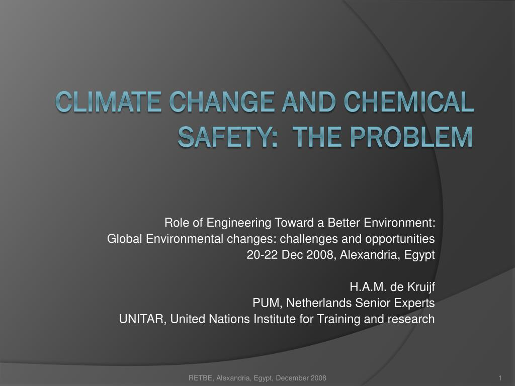 climate change and chemical safety the problem