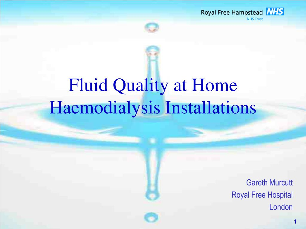 fluid quality at home haemodialysis installations