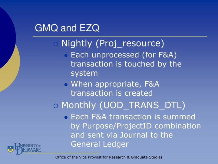 GMQ and EZQ