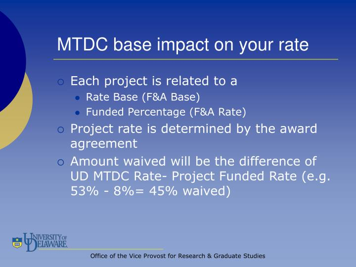 MTDC base impact on your rate