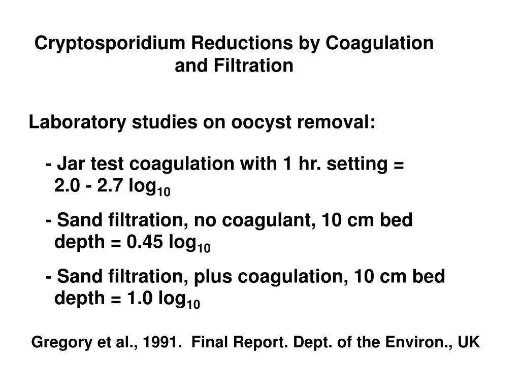 Cryptosporidium Reductions by Coagulation and Filtration