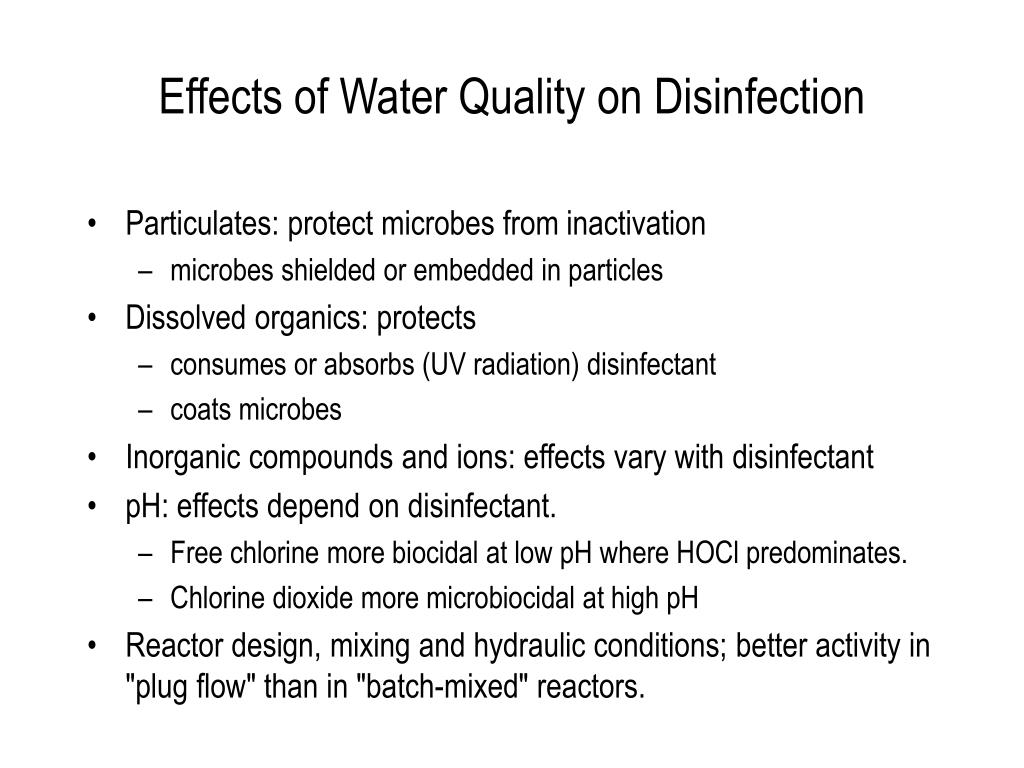 Effects of Water Quality on Disinfection