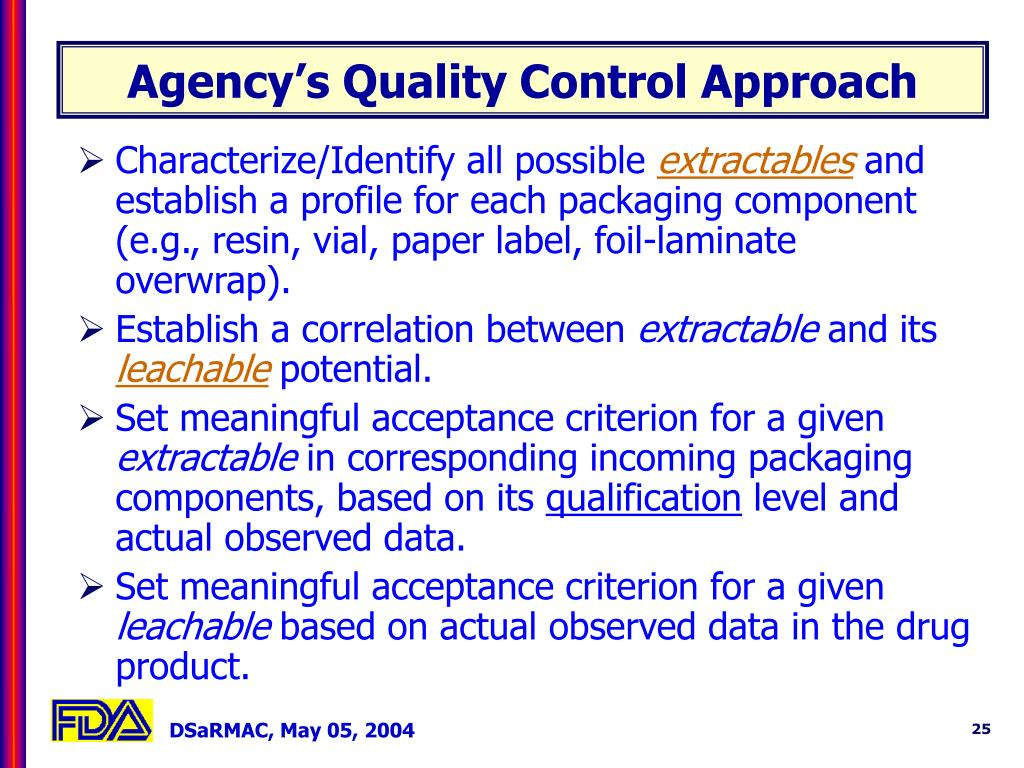 Agency's Quality Control Approach
