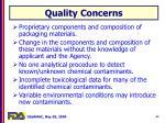 quality concerns