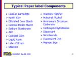 typical paper label components