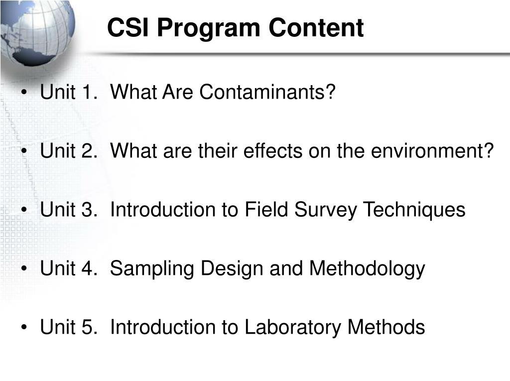 CSI Program Content