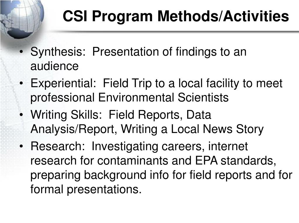 CSI Program Methods/Activities