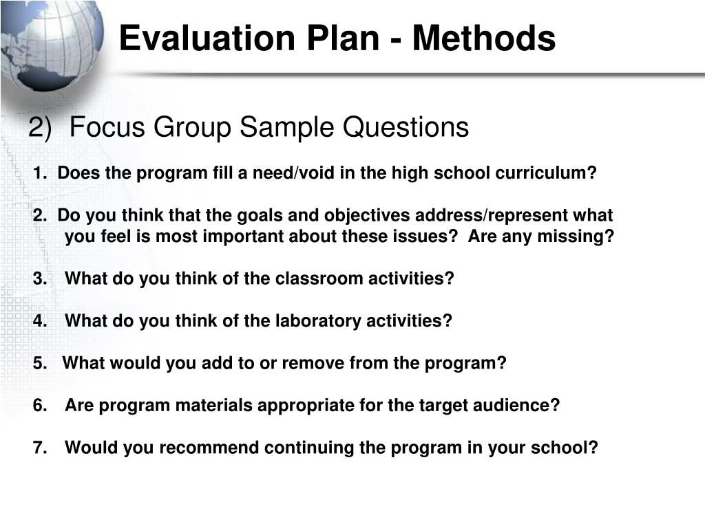 Evaluation Plan - Methods