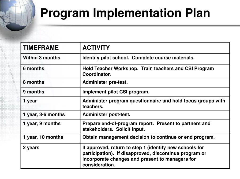Program Implementation Plan