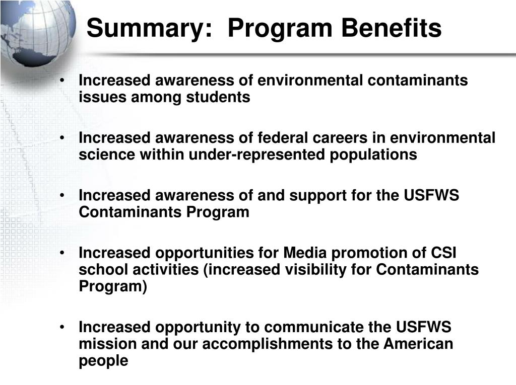 Summary:  Program Benefits