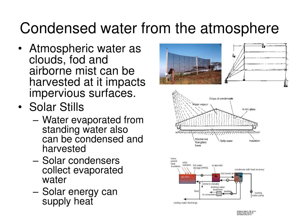 Condensed water from the atmosphere
