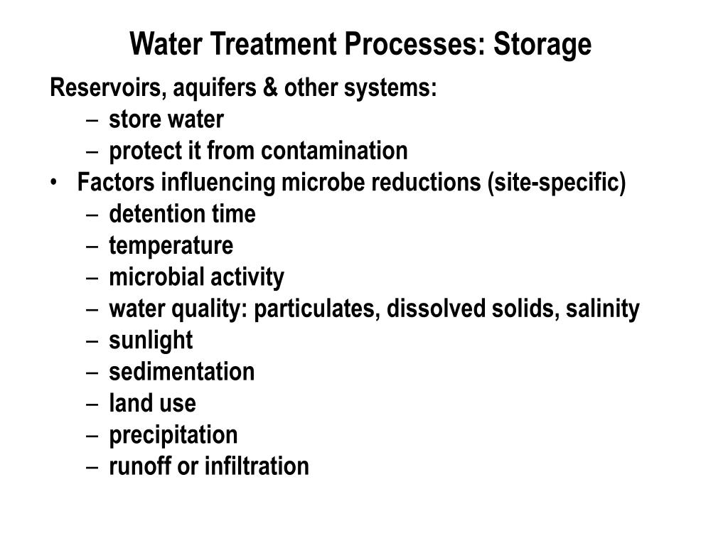 Water Treatment Processes: Storage