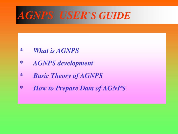 Agnps user s guide