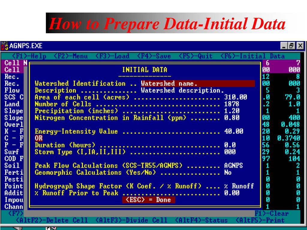 How to Prepare Data-Initial Data