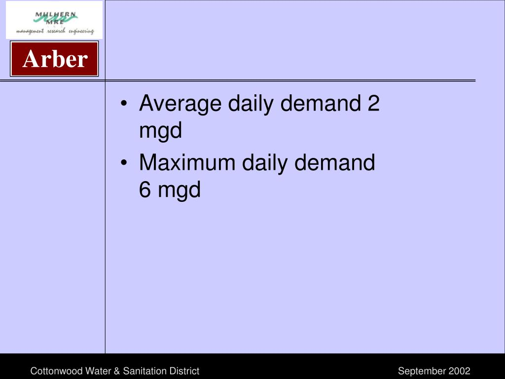 Average daily demand 2 mgd