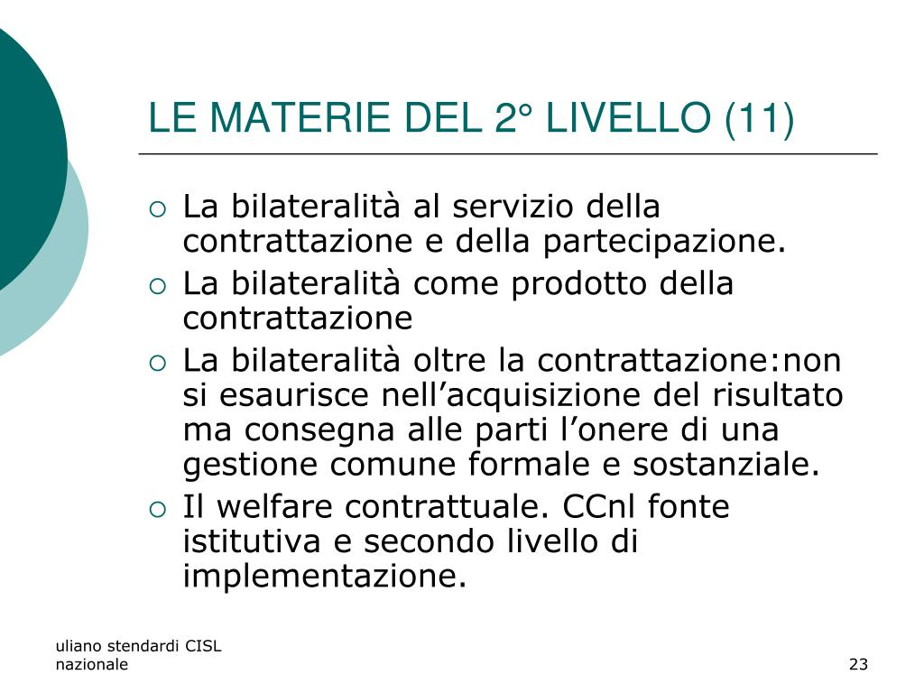 LE MATERIE DEL 2° LIVELLO (11)