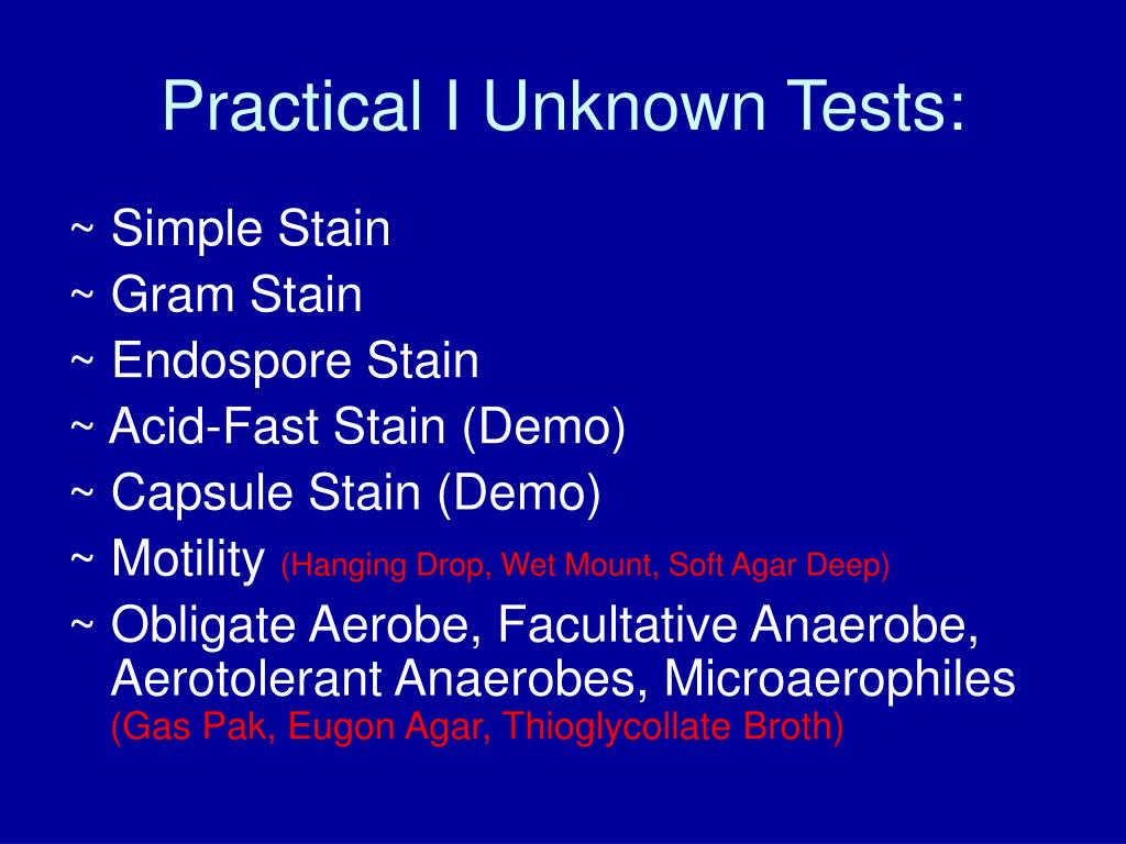 Practical I Unknown Tests: