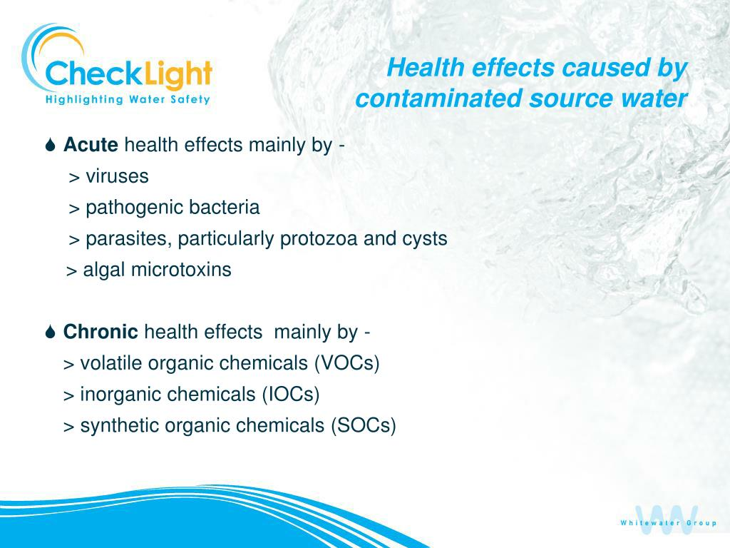 Health effects caused by contaminated source water
