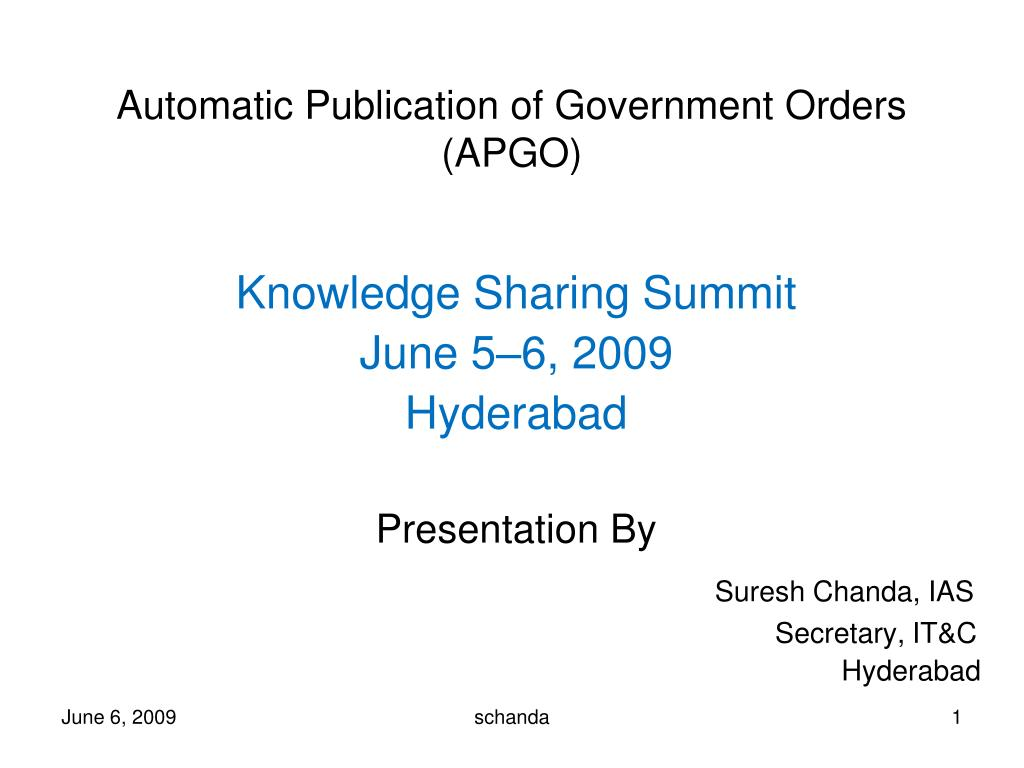 Automatic Publication of Government Orders (APGO)